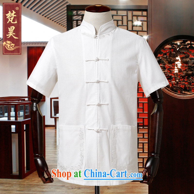 Van Gogh's new male-tang is short-sleeved, old cotton, for Chinese DB 586 white XL