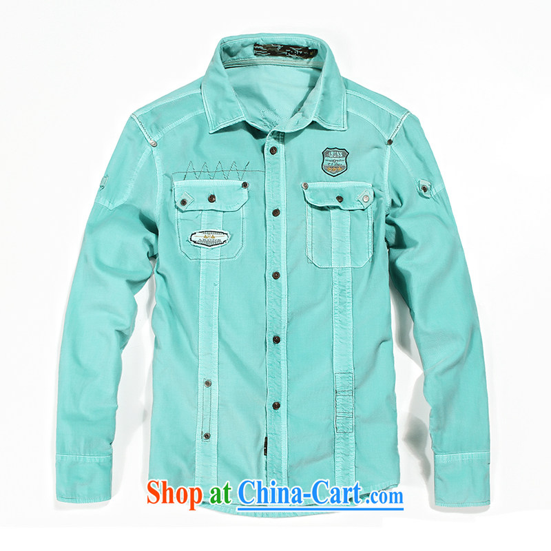Jeep shield washable cotton corduroy shirt men's leisure smock double-pocket solid-colored loose the code shirt F 01 Green Green S