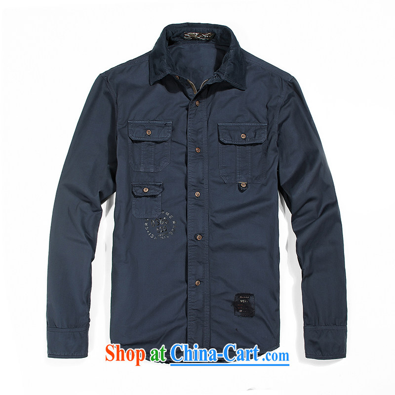 Jeep shield washable cotton American lapel shirt simple and the Code leisure Generalissimo zipper coin shirt F 02 blue XXXL
