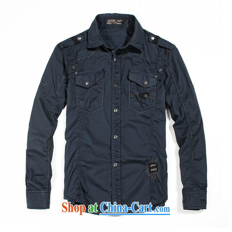 Jeep shield men's comfortable double-pocket stitching design shirt retro lounge smock washable cotton lapel shirt F 03 blue XXXL