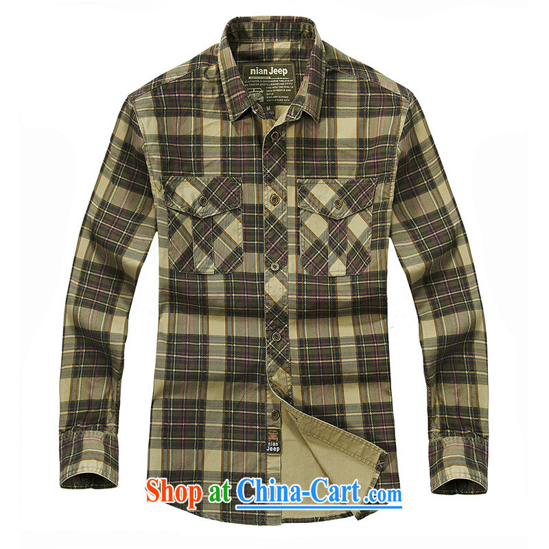 Jeep shield spring leisure men's cotton shirt smock shirt washable tartan shirt 2027 card the color 4 XL
