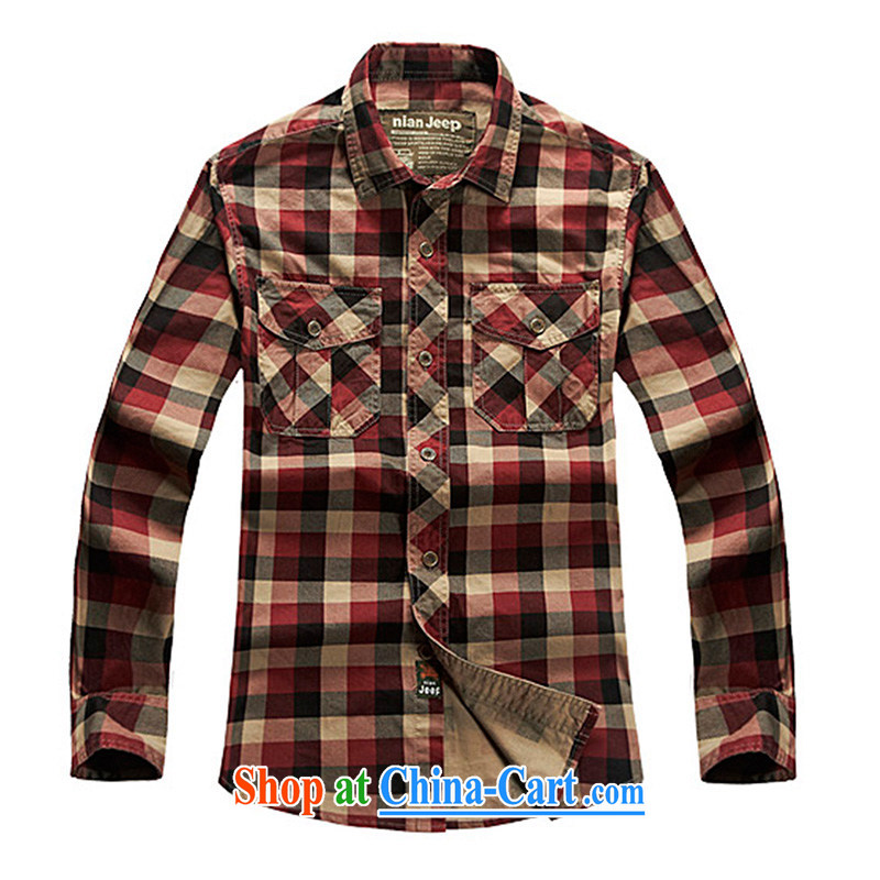Jeep shield spring men's long-sleeved cotton washable smock-frock pocket checkered shirt casual shirt T-shirt 2039 red grid XXXL
