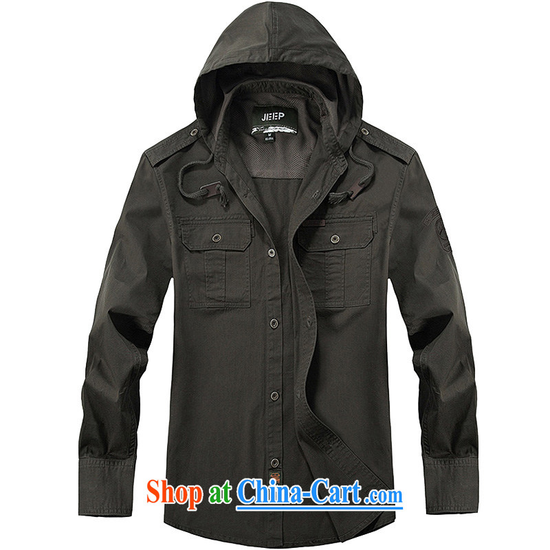 Jeep shield cotton comfortable shirt men pocket smock cap, long washable casual shirt 3207 army green XXXL