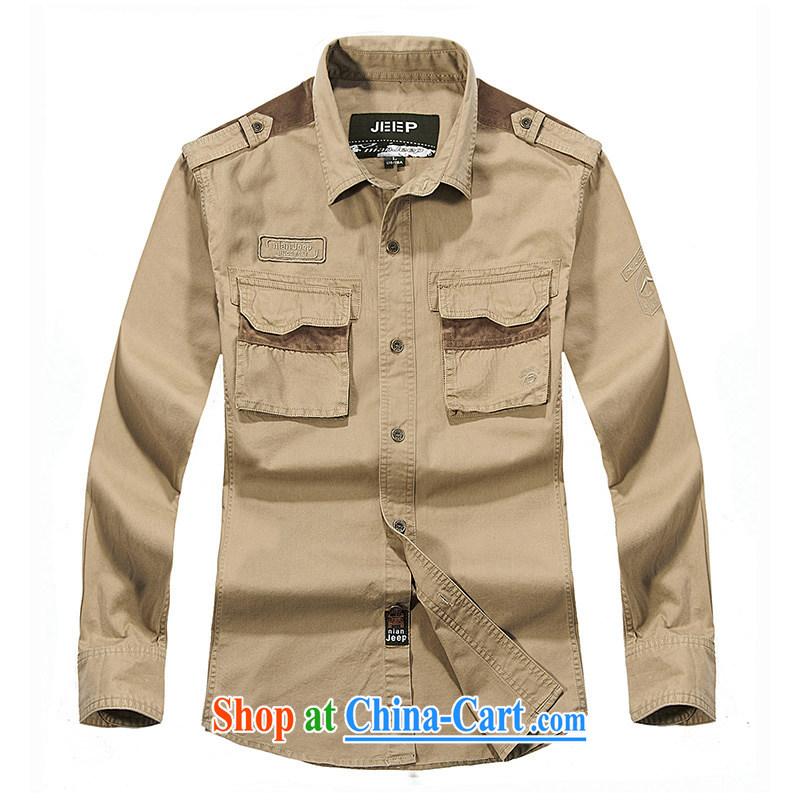 Jeep shield spring leisure cotton smock comfortable multi-pocket shirt shirt men's washable frock shirt 3222 card its color XXXL