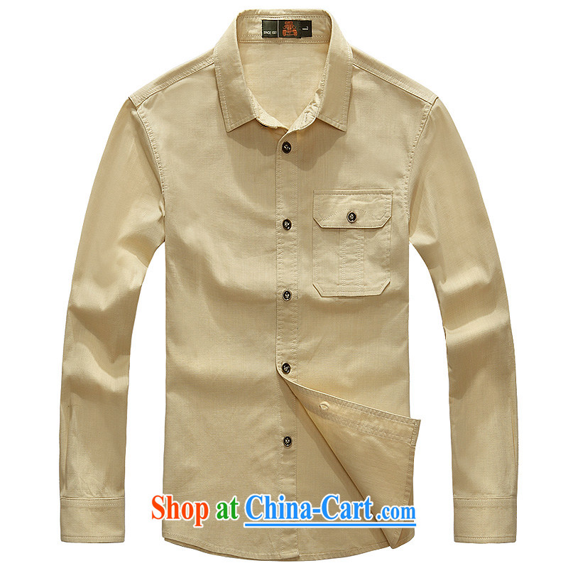 Jeep shield 2015 new men's cotton shirt smock stylish casual cuffs long-sleeved T-shirt 6826 card its color XXXL