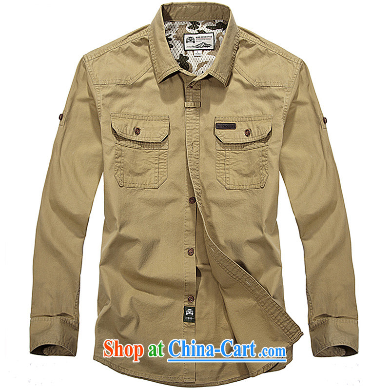 Jeep shield cotton lapel shirt smock washable solid-colored frock shirt 9201 card its color L
