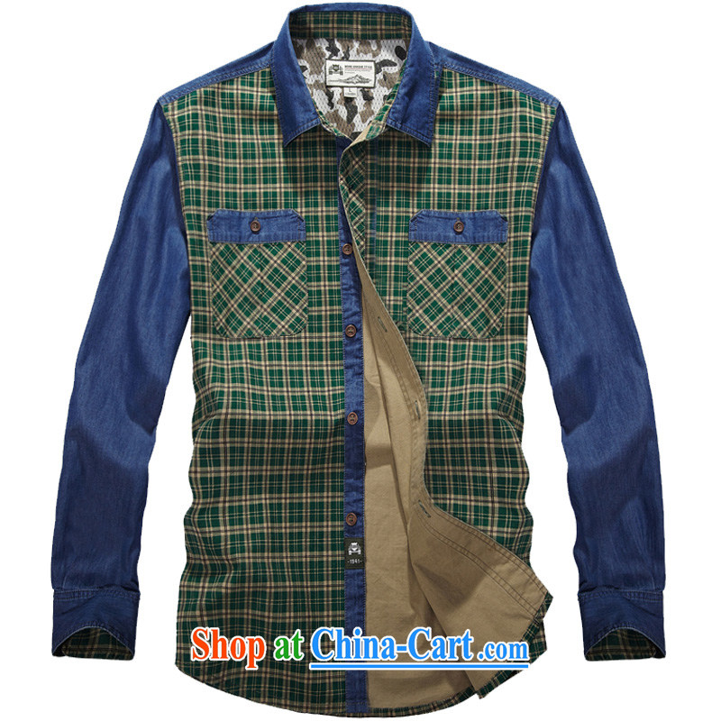 Jeep shield spring 2015 frock shirt stitching men's washable smock cotton checkered shirt 9202 Green Grid L