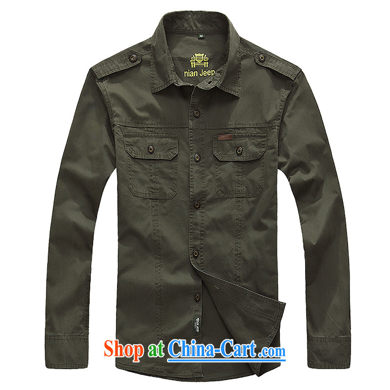 Jeep shield spring and summer new cotton washable smock long-sleeved T-shirt men's leisure life 9965 army green XXXL
