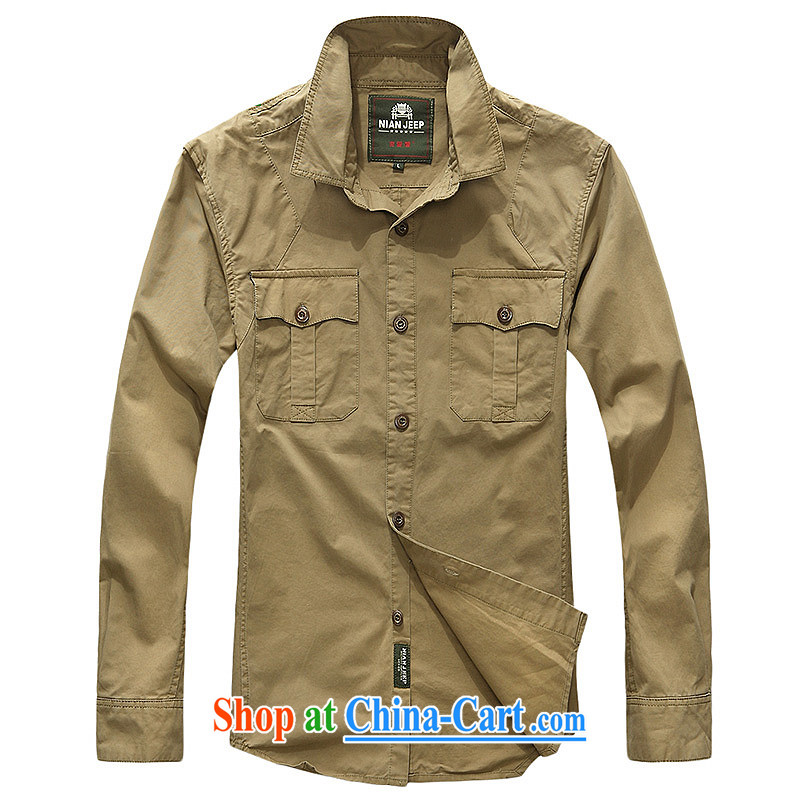 Jeep shield spring and summer new solid-colored lapel pure cotton long-sleeved shirt smock men's cotton washable 9969 card its color L