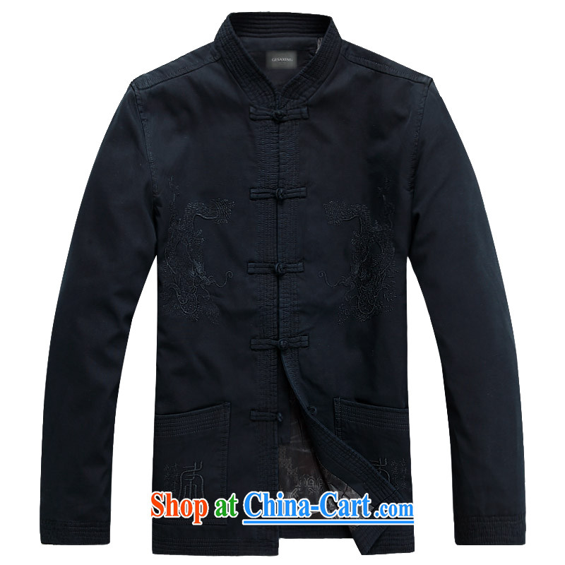 Middle-aged and older men and new Chinese Spring pure cotton long-sleeved-buckle up for Chinese China wind father Father with embroidery double-lung, served deep blue M/170