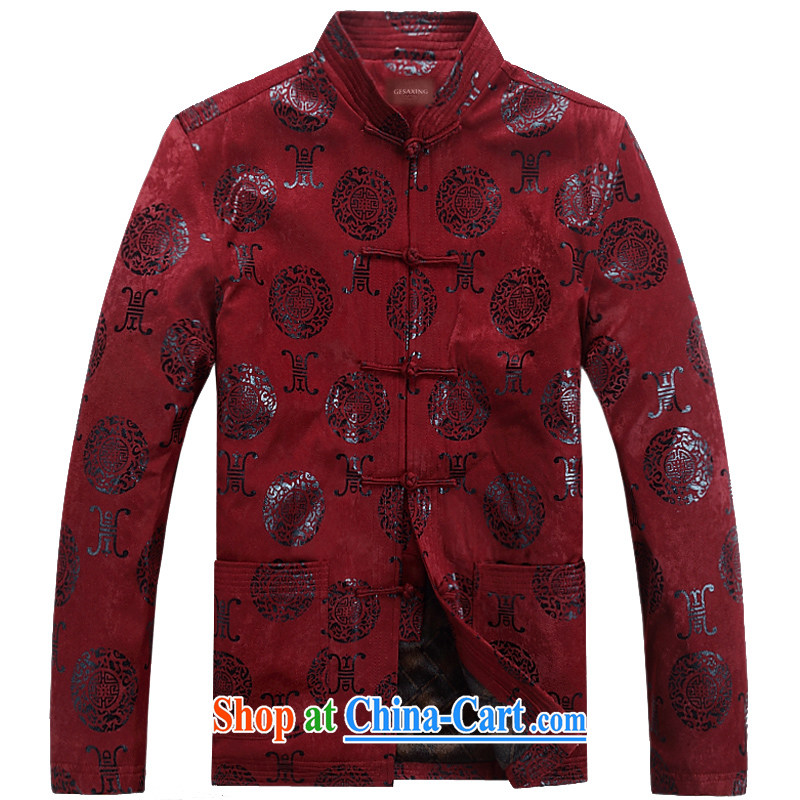 New Men Tang jackets long-sleeved T-shirt birthday banquet, wedding older men and spring clothing, manually for the buckle F 07, maroon XXXL_190