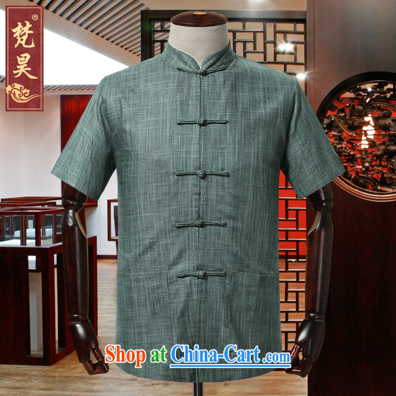 Vincent van Gogh in Ho older linen Tang with short-sleeved men's summer retro shirt simple code loose male DM 528 green 3 XL