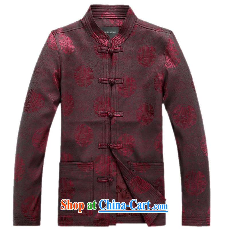 2015 spring new, older men's long-sleeved Tang jackets 1000 jubilee, for the charge-back Chinese men's jacket maroon XXXL/190