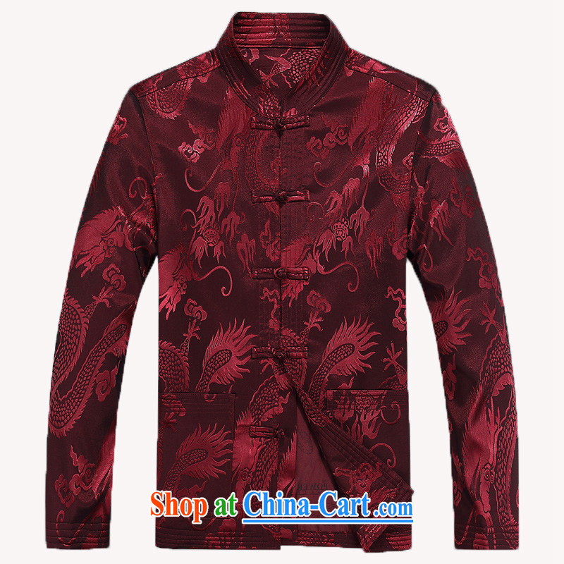 2015 Spring and Autumn New Men Tang jackets, old national costumes Dragon Chinese men's father replace costumes wine red L/175