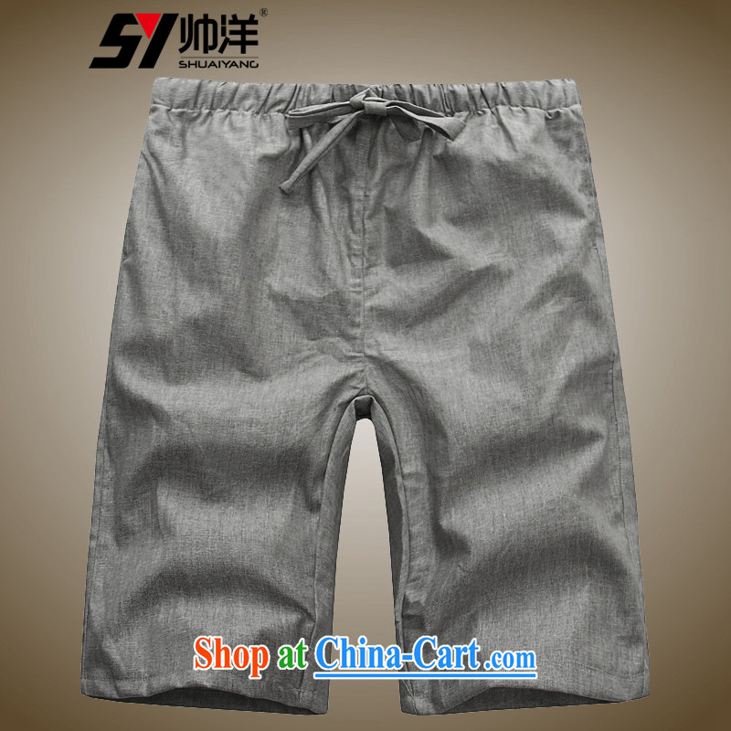 cool ocean new linen men's short pants Chinese shorts summer Chinese style pants and the gray 42/180