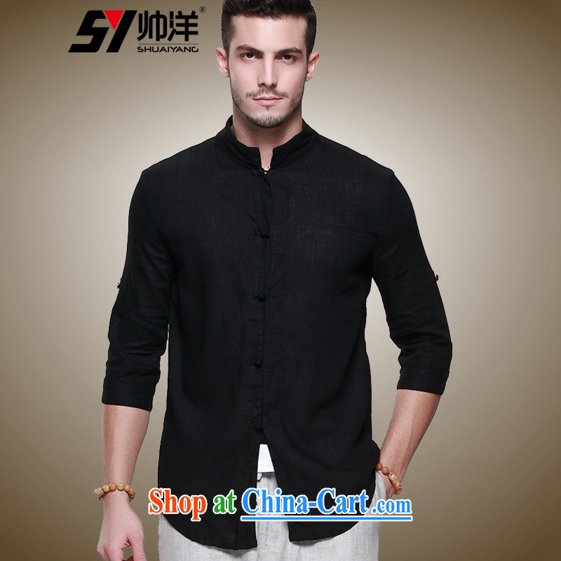 cool ocean new linen men's Chinese shirt Chinese men's short-sleeved T-shirt Chinese style decorated in summer, men's shirts 7 cuffs and collar men's black 43/185, beauty, small a code)