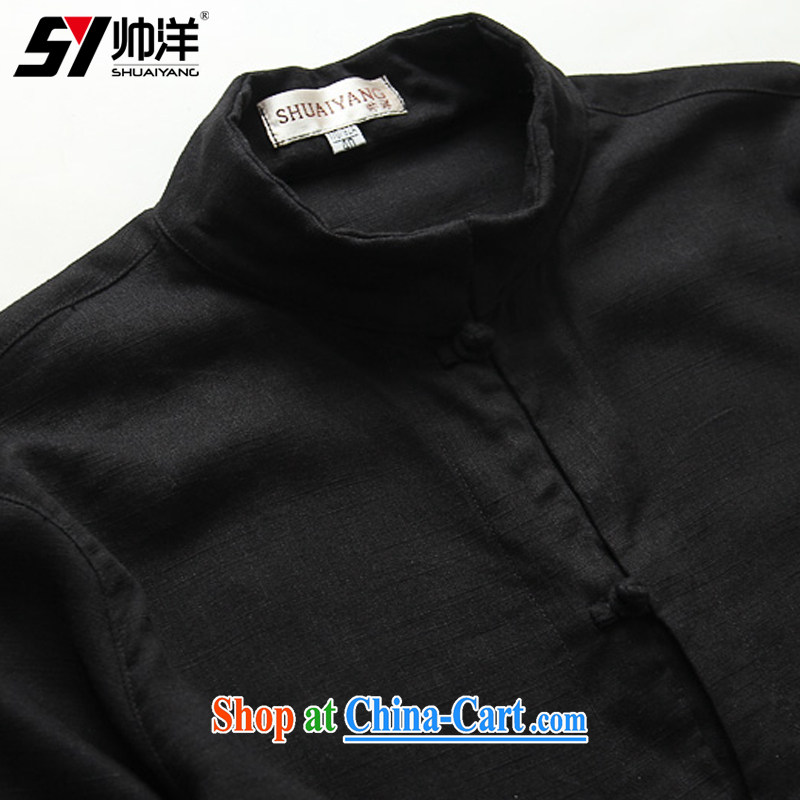 cool ocean new linen men's Chinese shirt Chinese men's short-sleeved T-shirt Chinese style decorated in summer, men's shirts 7 cuffs and collar men's black 43/185, beauty, small a code), cool ocean (SHUAIYANG), online shopping