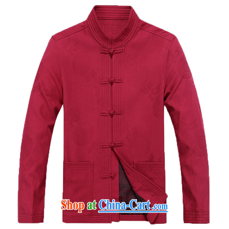 New Spring men Tang with long-sleeved T-shirt, older Chinese men and the charge-back older persons cotton Tang jackets men's F 8801, the deep-red XXXL/190