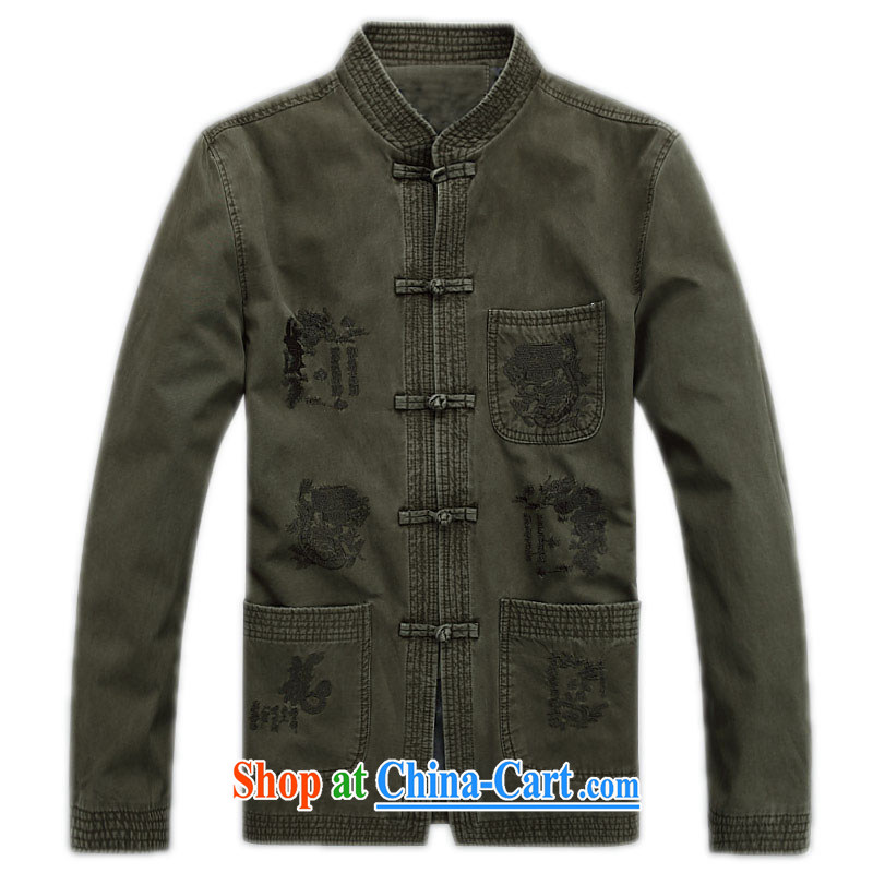 Spring and fall 2015 New, Old long-sleeved Chinese men and fall and winter T-shirt cotton, Chinese leaders of ethnic-han-2, green XXXL/190