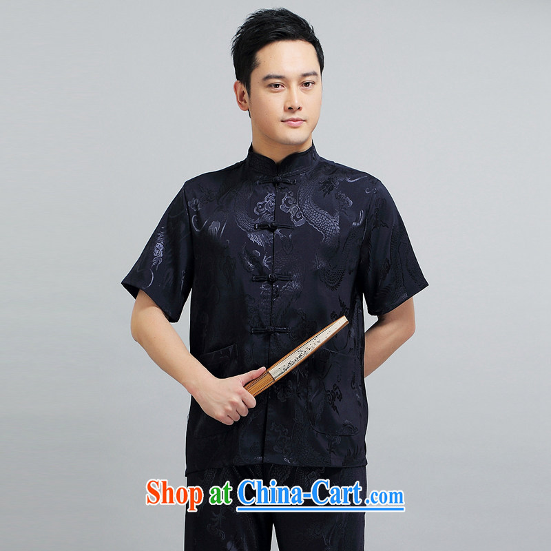 A Chinese man Tang fitted T-shirt 2015 summer, older Chinese men's short-sleeve kit male Tang replace summer T-shirt short-sleeved blue Kit L