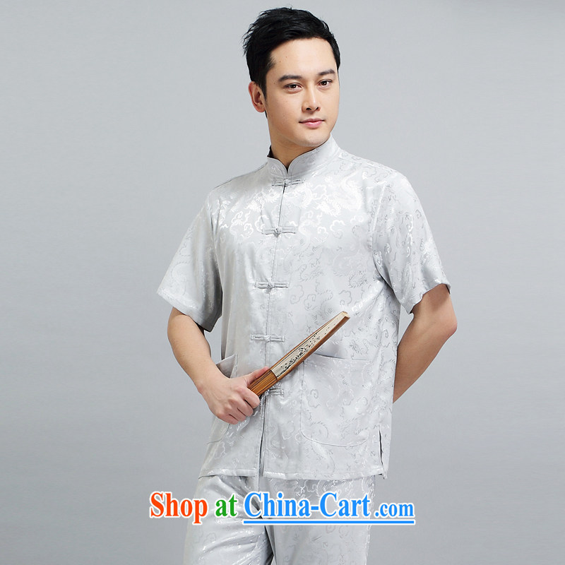 A property in Kowloon Tong on men's short-sleeved New Dragon tattoo Chinese summer breathable T-shirt thin national martial arts practitioners wearing gray suit XXXXL