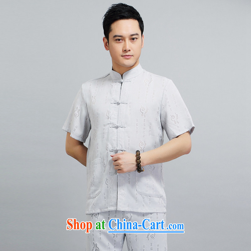 A Chinese meditation service and summer 2015 Chinese men's Chinese, for leisure Chinese short-sleeved retro loose the code jogging service gray suit XXXXL