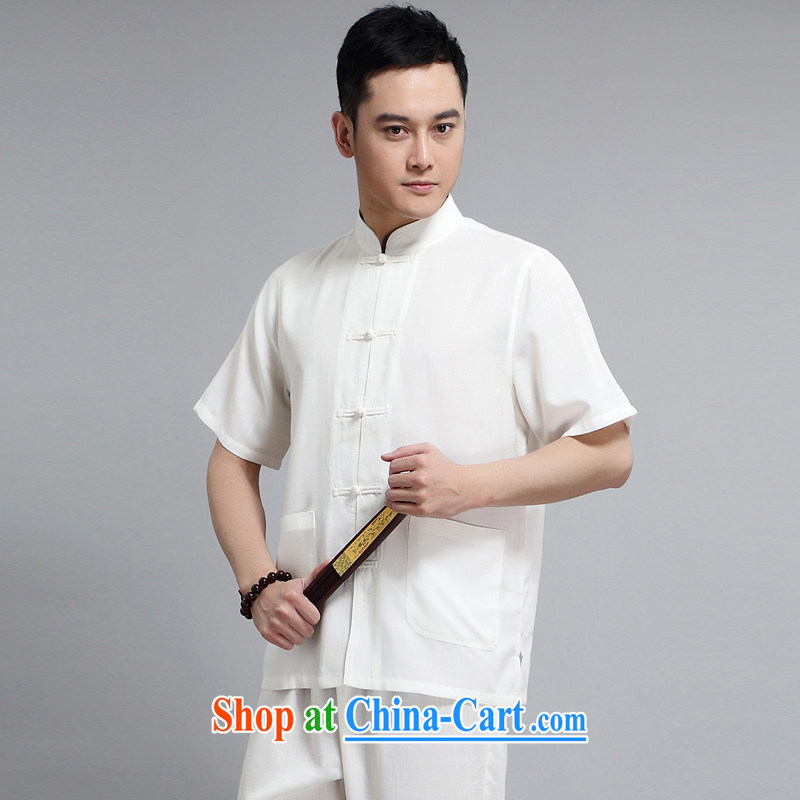 A Chinese China wind cotton Ma Man Tang is short-sleeved, for cultivating Chinese Ethnic Garment-buckle older casual clothes Chinese men and white package XXXXL