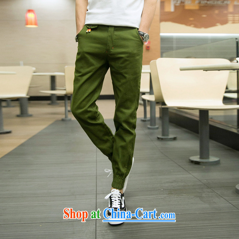 pants men and beauty tapered castor pants male and calf pants down pants fit Trouser press Korean version, Trouser Press army green XXL