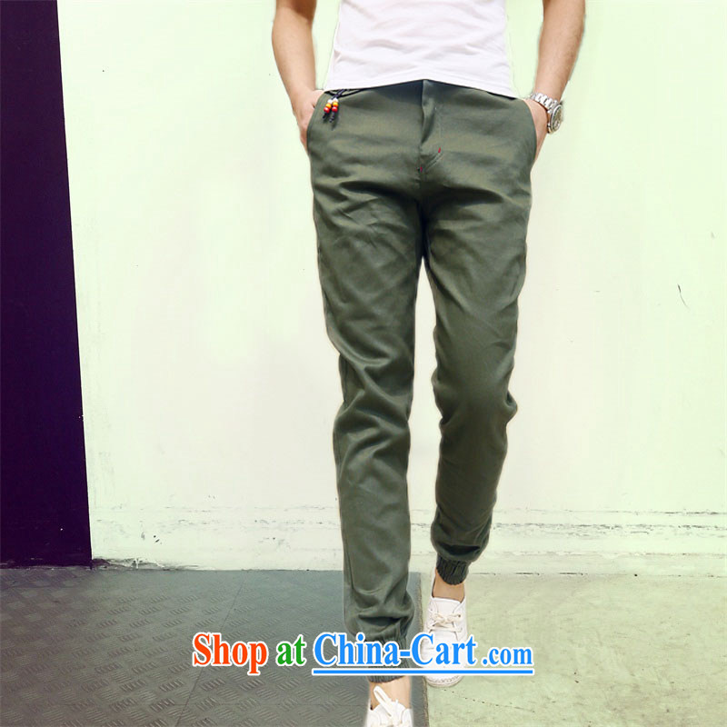 Spring 2015 men's trend-and-pants men and beauty long pants Korean version, pants army green XXL