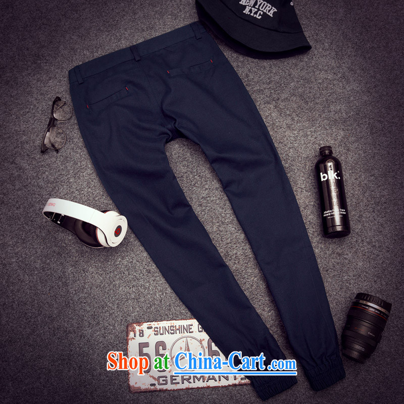 Spring, men's casual pants Korean Castor, beauty salon-beam pin pants men and youth solid color long pants dark blue XXL