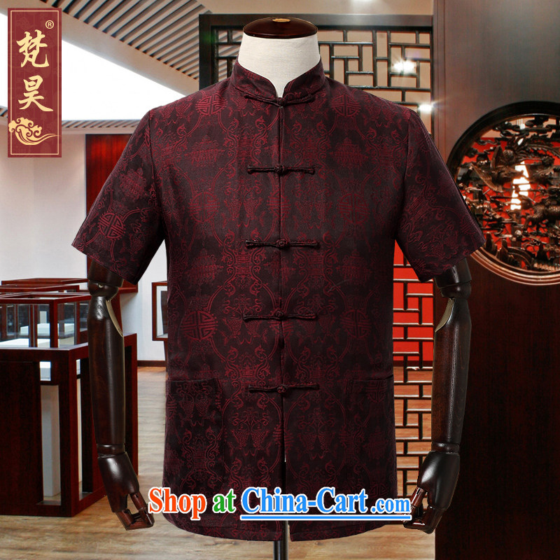 Van Gogh Ho Tang is short-sleeved men's summer new middle-aged and older upscale silk incense cloud yarn Tang mounted men, short-sleeved shirt DX 930 red L