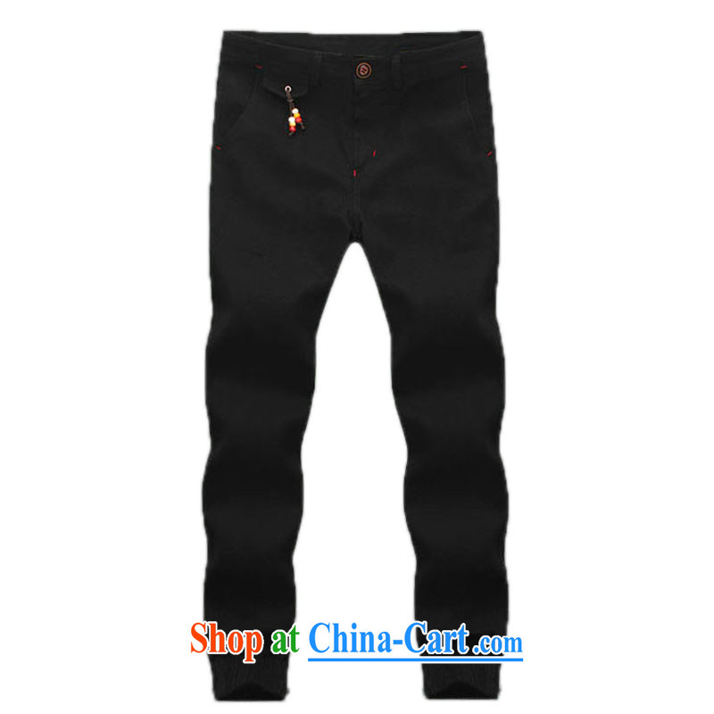 2015 new men's sports trousers fashion harness pin, trouser press and beauty, trouser press, Trouser Press the foot sport and leisure trousers black XL
