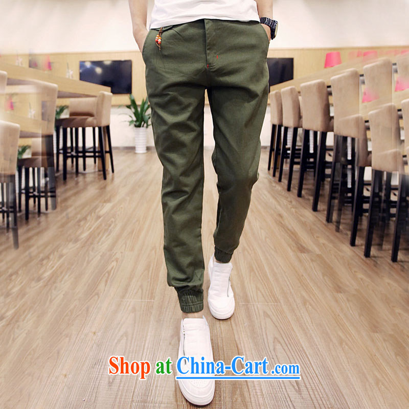 Men's new Korean version, trousers tapered trousers cultivating the foot trousers trousers fit pants men pants army green XXL