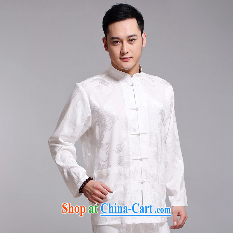 Chinese Spring 2015 New Men's Chinese package older sauna silk morning Tai Chi 缁冪粌鍔� serving China wind long-sleeved Chinese White 1519 190