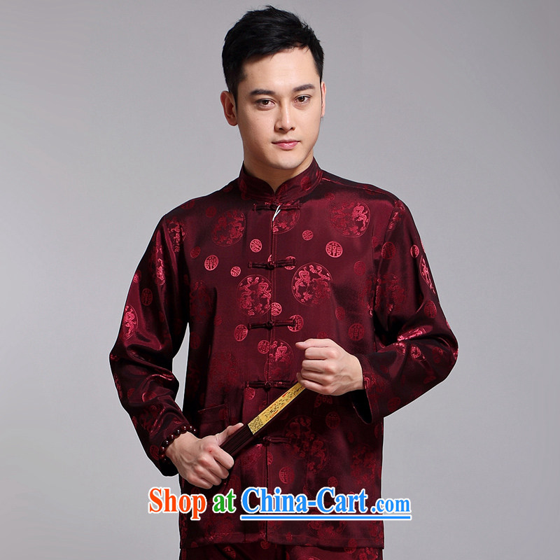 Tang mounted 2015 New Men's Tang is included in the kit older sauna silk morning Tai Chi 缁冪粌鍔� serving China wind long-sleeved Chinese Red Cross 1516 190