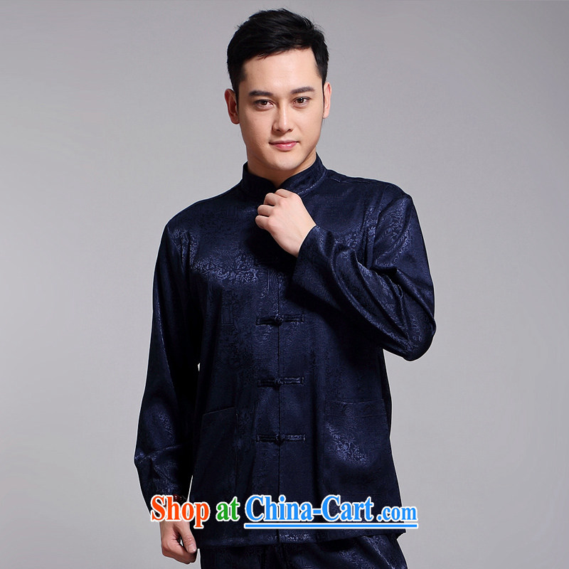 Chinese Spring 2015 New Men's Chinese package older sauna silk morning Tai Chi 缁冪粌鍔� serving China wind long-sleeved Chinese blue 1512 190