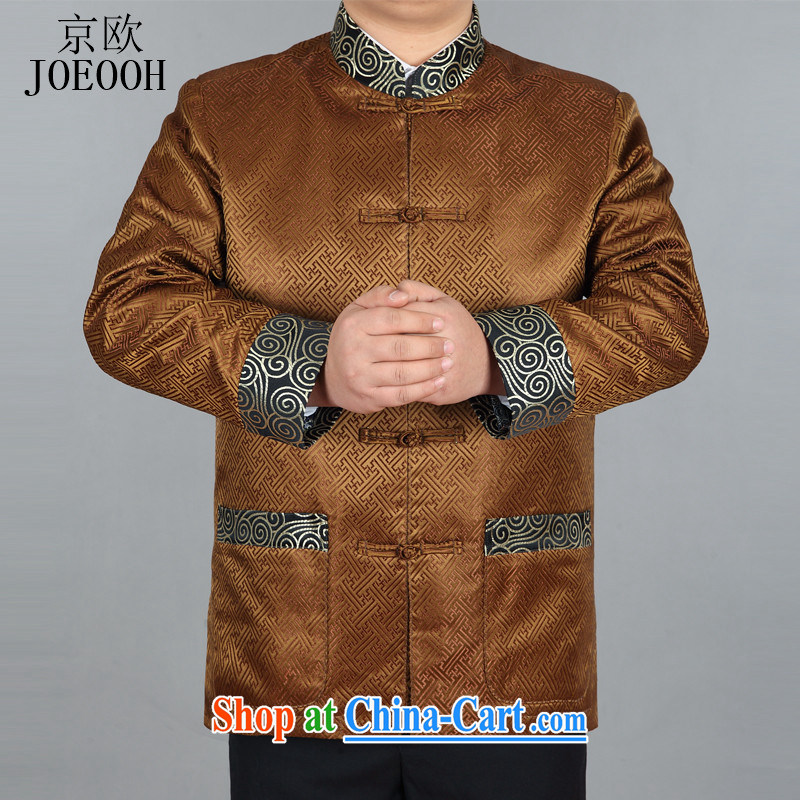 Putin's European spring loaded tang on the T-shirt jacket Tang fitted jacket, older birthday clothing Chinese jacket jacket gold XXXL