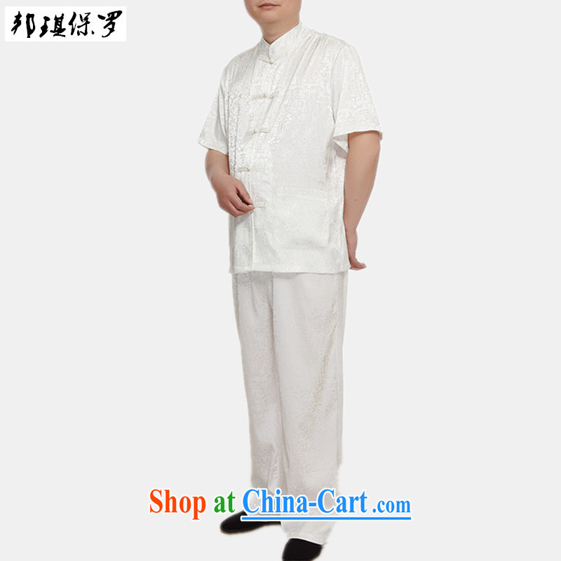 Bong-ki Paul summer 2015 new middle-aged and older men Chinese Kit T-shirt pants father with Chinese short-sleeved summer dress and white 185, Angel Paul, and shopping on the Internet