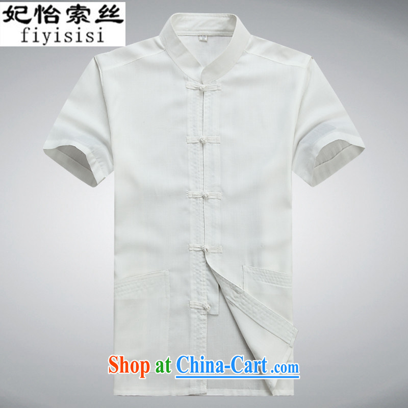 Princess Selina CHOW in spring and summer, new men, short-sleeved Chinese elderly in load shirt Chinese-buckle clothing father with his grandfather on Tai Chi clothing #8059 white 175