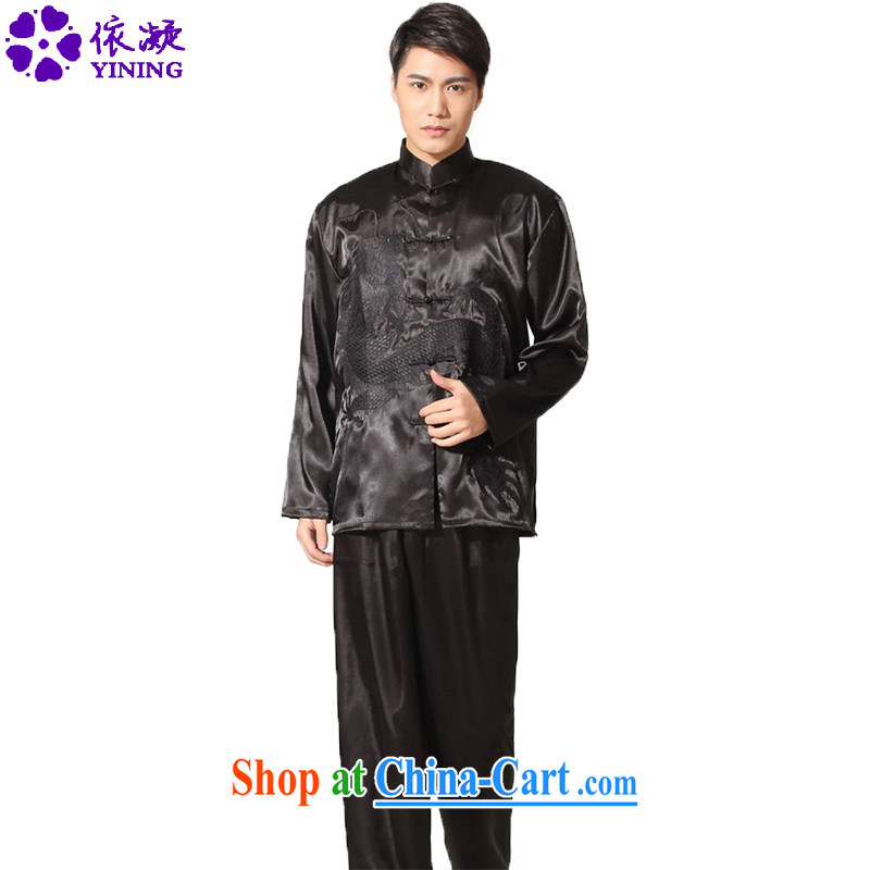 According to fuser spring and summer new men and replace the collar embroidered dragon ethnic-Chinese package the Service LGD_M 0014 _black 2 XL