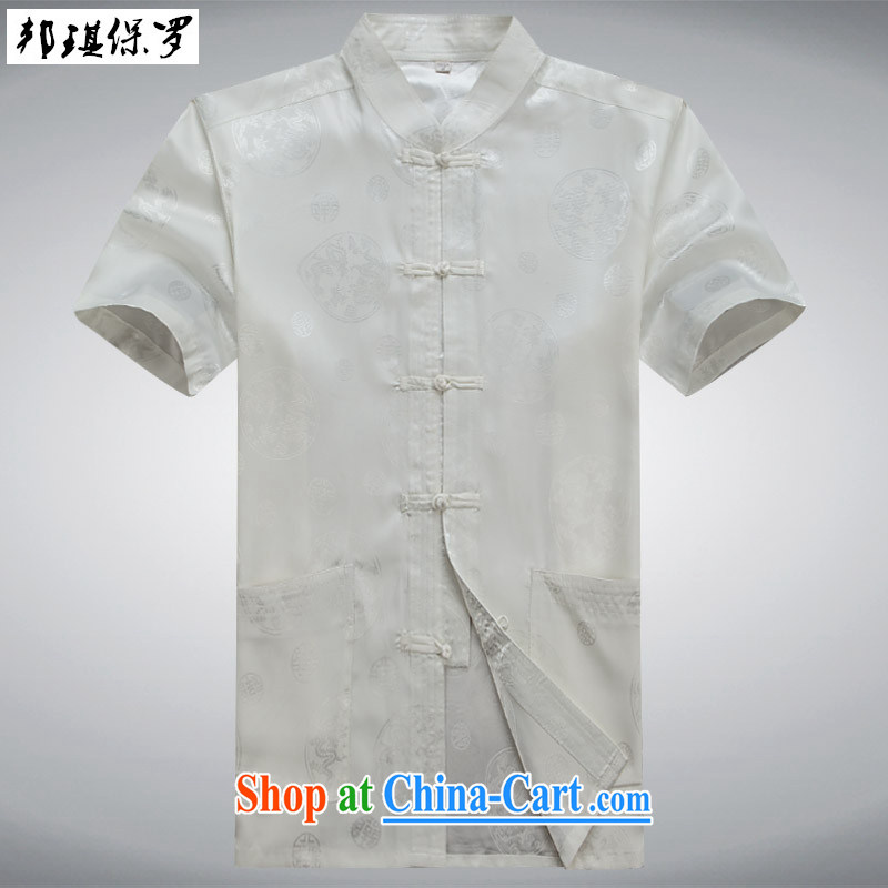Bong-ki Paul summer 2015 new middle-aged and older home leisure China wind Chinese package men Chinese, short-sleeved Chinese T-shirt Dad fitted white suite XXXL