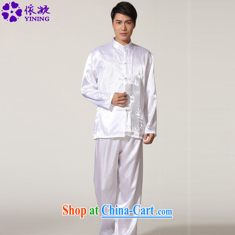 According to fuser New Men's antique Ethnic Wind up for single-snap shirt + leisure pants Tang load package and service LGD_M _0010 white 2XL