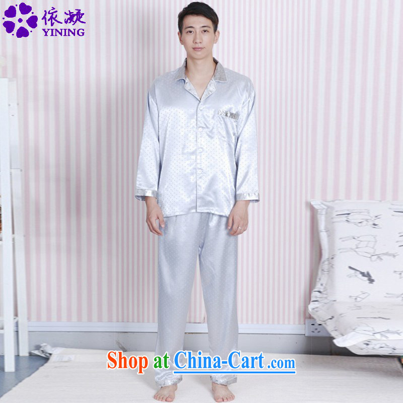 According to fuser New Men's antique China wind lapel little stamp shirt + pants two-piece Chinese package LGD/SH 0007 # -A gray 2 XL