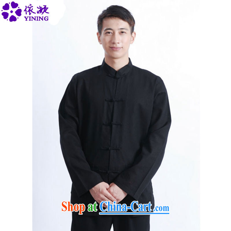 According to fuser spring new male Tang fitted T-shirt style collar, click the Snap solid colors Tang with long-sleeved T-shirt jacket LGD_J 1083 _black 3 XL