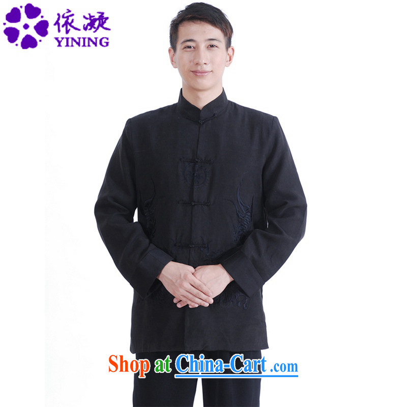 According to fuser spring fashion new male Chinese qipao, for classical-tie embroidered Dad loaded Tang jackets LGD_M 1149 _black XXXL