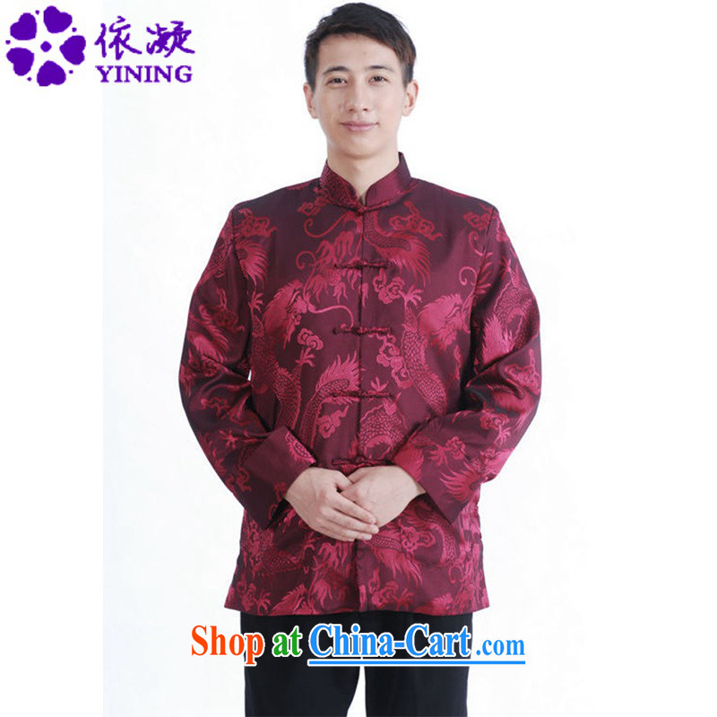 According to fuser spring new men's clothing Chinese clothing, who have been hard-pressed Classic tray snap Dad loaded Tang jackets LGD_M 1141 _3 XL