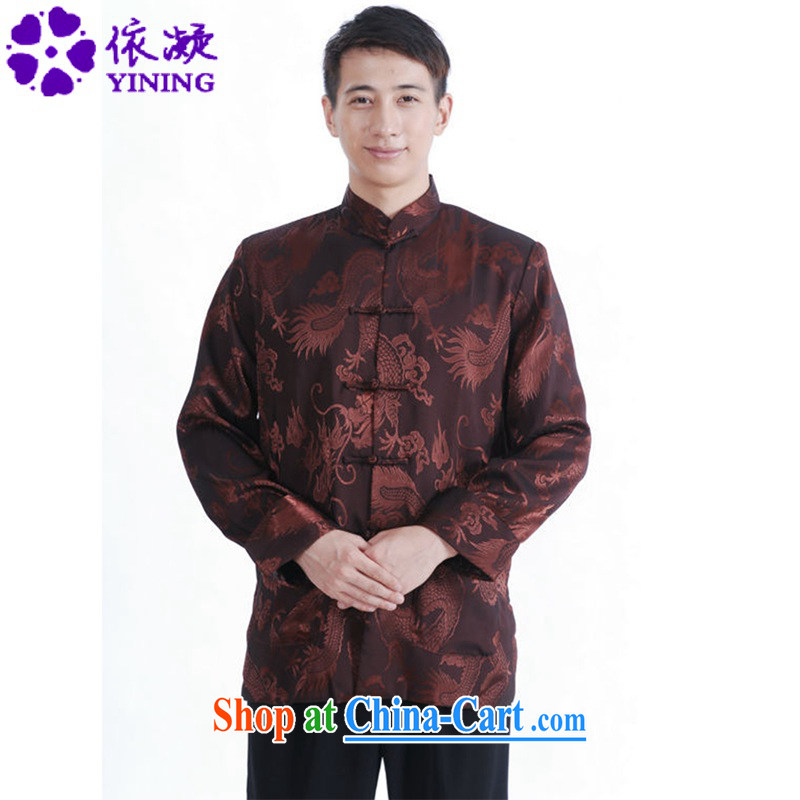 According to fuser spring New Men's antique Chinese wind Chinese qipao, who has been hard-pressed double-pocket Dad loaded the Lao Tang jackets LGD_M 1143 _3 XL