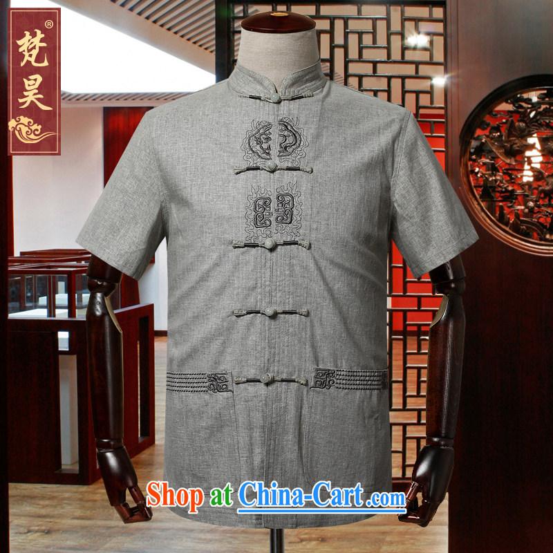 Van Gogh's annual 2015 new summer linen Chinese men and a short-sleeved shirt, older, served half sleeve cotton Ma DM 567 light gray 3 XL