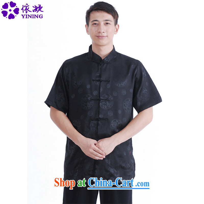 To fuser summer New Classic ethnic wind Chinese qipao, for single-tie father replace Tang replace short-sleeve T-shirt LGD/M 0016 #black 3 XL