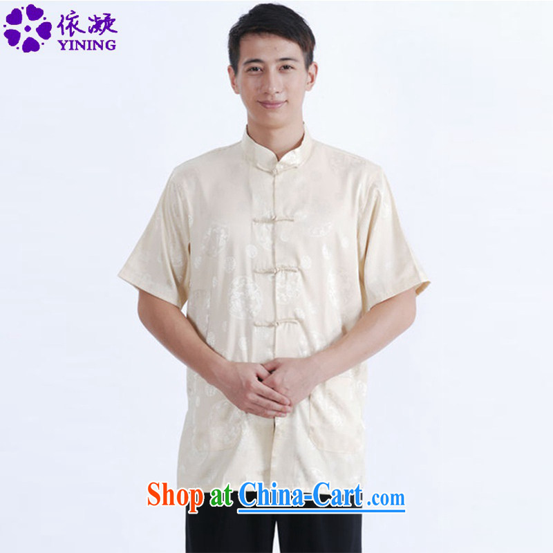 In accordance with fuser summer new ethnic wind short-sleeved Chinese qipao, for single row for short-sleeved Chinese T-shirt LGD_M 0017 _beige 3XL